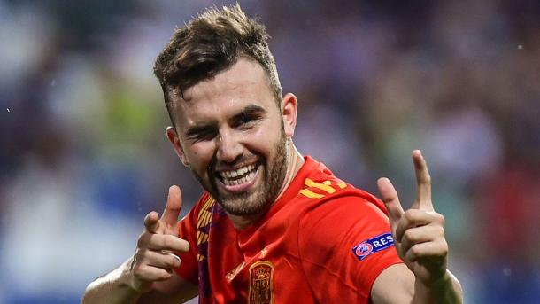 Borja Mayoral celebrando su gol, el cuarto a favor de España   Foto: UEFA.com