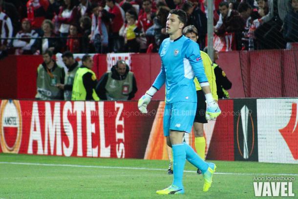 David Soria en la eliminatoria de cuartos de final de la UEFA Europa League frente al Athletic de Bilbao. Fuente: VAVEL.com