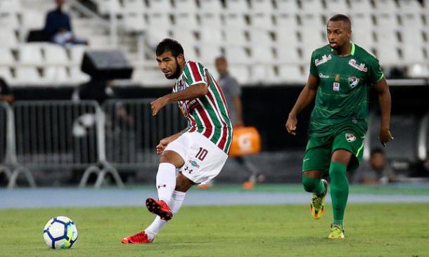 Com três assistências e um gol, Sornoza comandou a goleada sobre o Salgueiro (Foto: Divulgação/Fluminense FC)