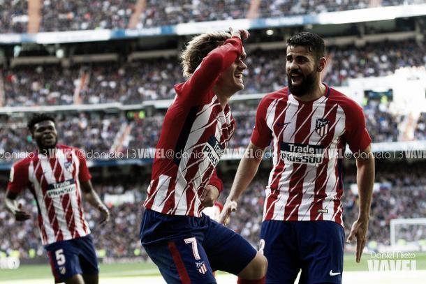 Griezmann y Diego Costa celebrando el gol del empate | Foto: Daniel Nieto
