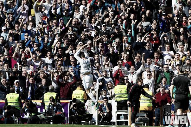 Cristiano celebrando el primer gol de la tarde | Foto: Daniel Nieto