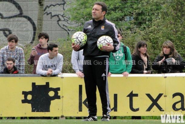 Eusebio Sacristán en una sesión de entrenamiento en Zubieta | Foto: Dani Mullor