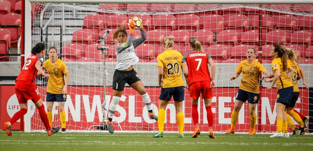 Abby Smith makes a save for the Royals | Photo: Adam Fondren, Deseret News