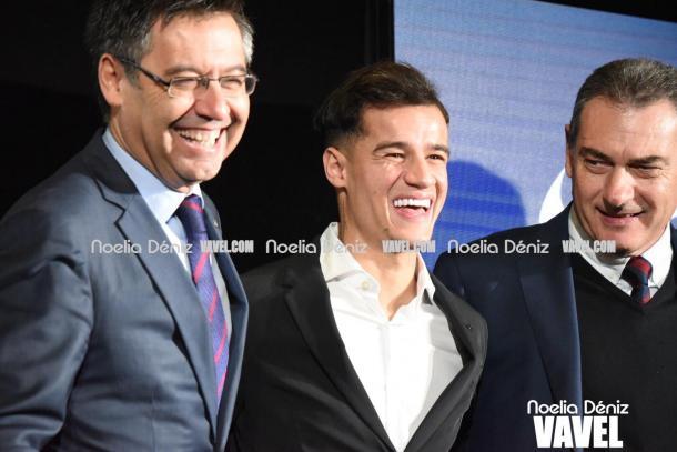 El nuevo jugador azulgrana ha mostrado su felicidad en todo momento. | Fotografía: Noelia Déniz (VAVEL.com)
