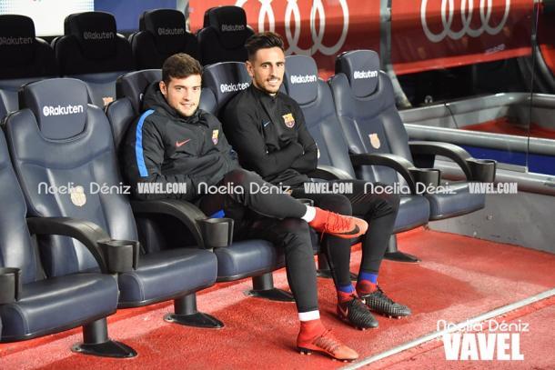 José Arnaiz y David Costas en el banquillo del Camp Nou contra el Murcia | Foto: Noelia Déniz, VAVEL