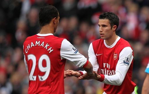 Van Persie y Chamakh en el Arsenal. Foto: Premier League