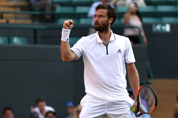 Ernests Gulbis celebrates during his upset win over fourth seed Alexander Zverev. Photo: Michael Steele/Getty Images