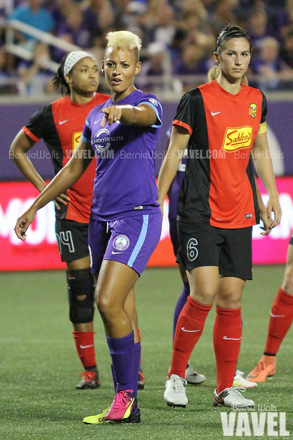 Lianne Sanderson with the Orlando Pride in their game against the Western New York Flash, her new team   Bernie Walls - VAVEL USA
