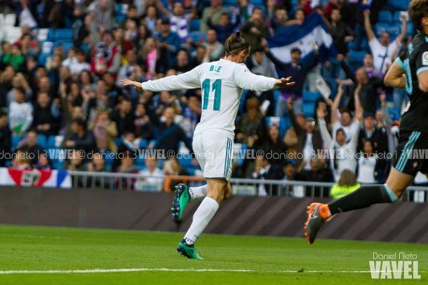 Bale celebra un gol en Liga la temporada pasada   Foto: Daniel Nieto (VAVEL)