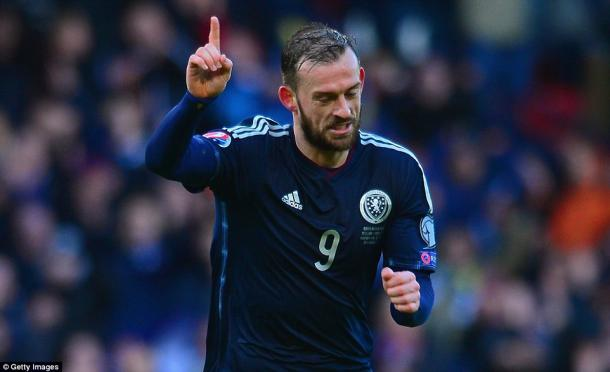 Steven Fletcher celebrates scoring a hat-trick for Scotland in the 6-1 victory | photo: Getty Images