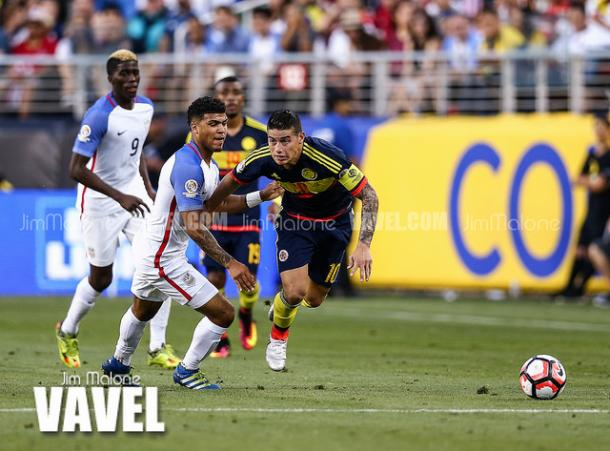 James Rodriguez (right, #10) has had a great tournament despite picking up a knock in the game against the United States | Jim Malone - VAVEL USA