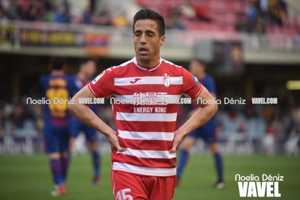 Pedro se lamenta en el Mini Estadi | Foto: Noelia Déniz