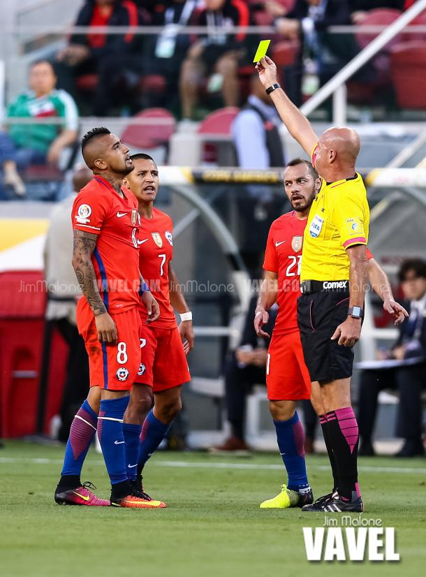 Chile did fine against Colombia without Arturo Vidal, who picked up a yellow card against Mexico and was forced to sit out the semifinal. | Photo: Jim Malone/VAVEL USA