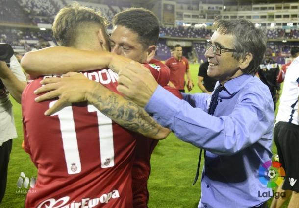 El Mallorca tras conseguir su permanencia en la última jornada | Foto: LFP.