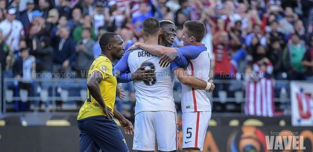 Clint Dempsey, Gyasi Zardes and Matt Besler celebrate against Ecuador in their quarter-final game. They went on to win 2-1. (Source: Francine Scott/VAVEL USA)