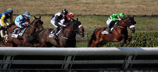 Alejandro Ruiz de verde y blanco saltando en primera posición | Foto: Pauline Baucou
