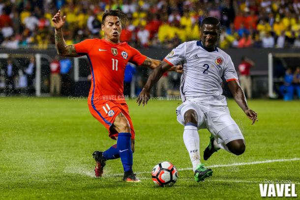 Colombia had problems with Chile's front three all game and the weather conditions didn't help