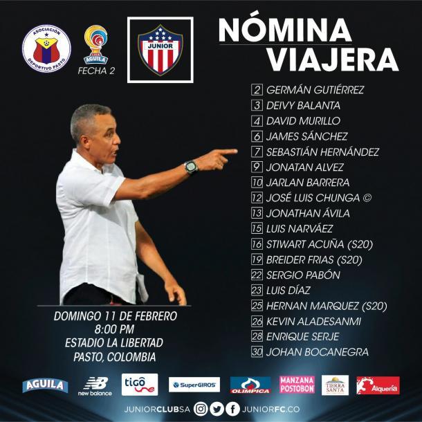 Lista de convocados de Atlético Junior para enfrentar a Pasto. Foto: Junior Club S.A.