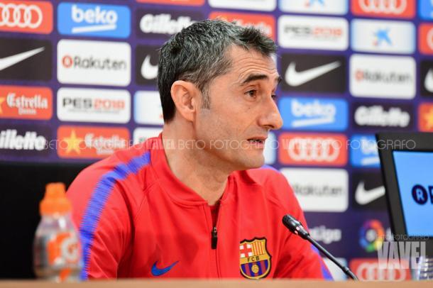 Ernesto Valverde en sala de prensa. Foto: Beto, VAVEL.com
