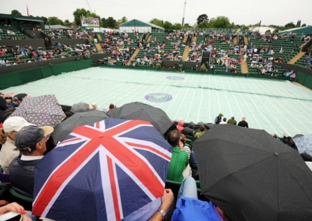 Bad weather at Wimbledon. Picture: Andrew Matthews/PA Wire