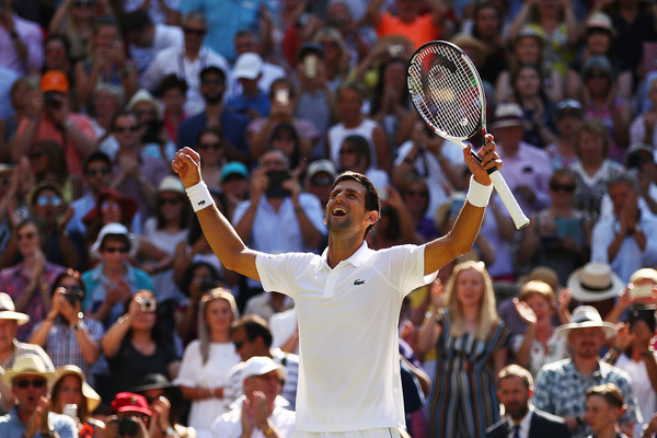 Djokovic celebrates his Wimbledon title. Photo: Clive Brunskill/Getty Images
