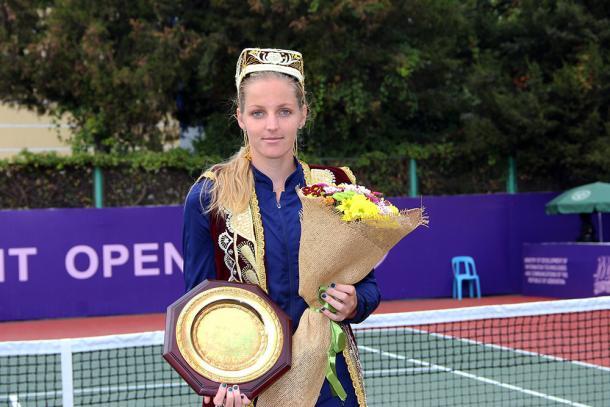 Pliskova with her maiden WTA title after winning the Tashkent Open. Photo credit: Tashkent Open.