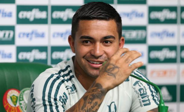 Dudu afirmou estar feliz no Palmeiras e que quer continuar no clube (Foto: Cesar Greco/Ag Palmeiras/Divulgação)