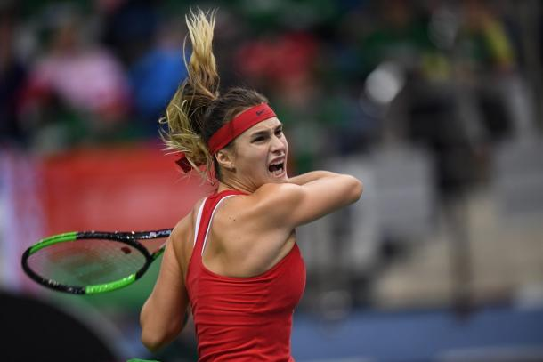 Aryna Sabalenka's iconic explosive game was too good today | Photo: Paul Zimmer / Fed Cup