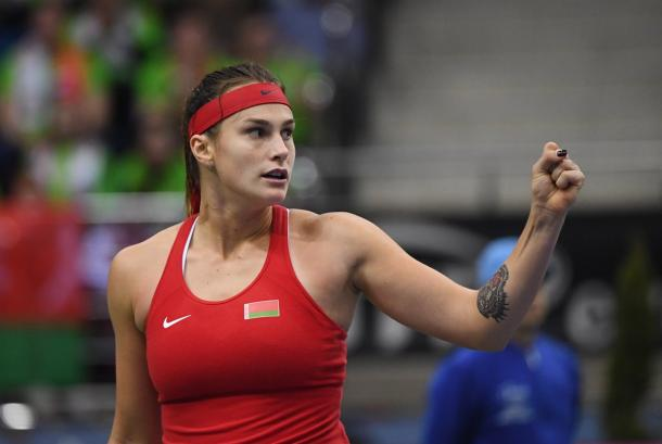 Aryna Sabalenka will be looking to seal the win for Belarus tomorrow, alongside Aliaksandra Sasnovich | Photo: Paul Zimmer / Fed Cup