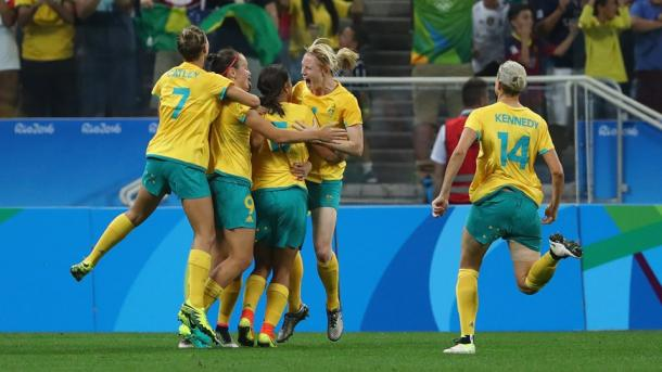 The Matildas celebrates Caitlin Foord's first half goal. Source: Getty Images