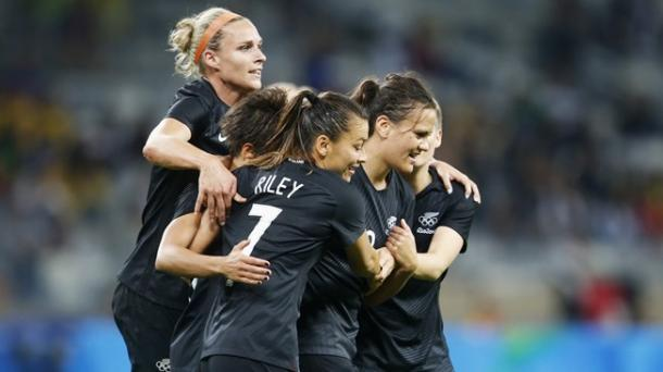 New Zealand celebrate the goal that ultimately won the game. (Photo: Getty)
