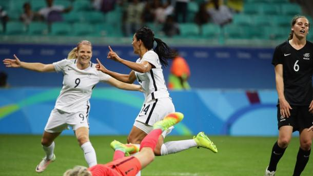 Louise Necib celebrates scoring the first of two goals. Source: Getty Images