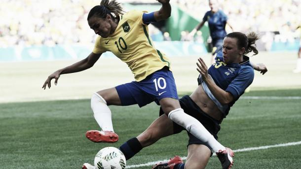Marta had another brilliant game for Brazil, but alas it wasn't enough. Source: Getty Images