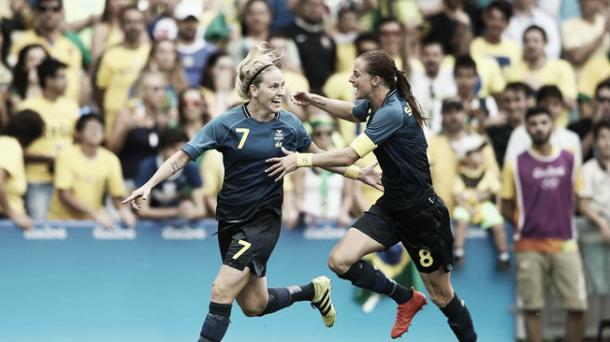 Lisa Dahlkvist once again netted the crucial penalty for Sweden. Source: Getty Images