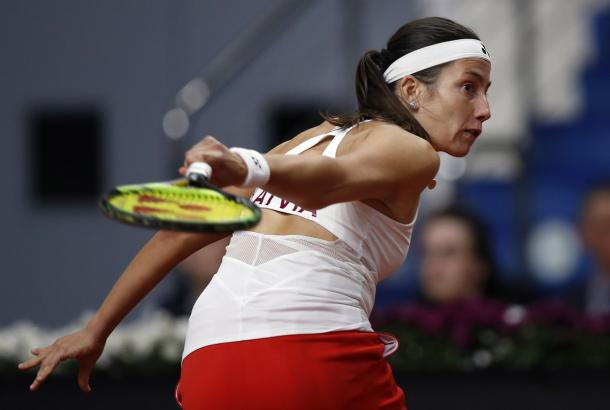 Anastasija Sevastova committed too many errors on the backhand wing in the first set, which proved costly | Photo: Sergey Kivrin / Fed Cup