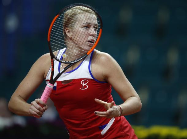 Anastasia Pavlyuchenkova suffered a mid-match wobble but rebounded perfectly to grab the win | Photo: Sergey Kivrin / Fed Cup
