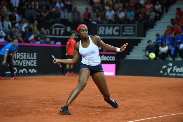 Sloane Stephens' baseline game looked extremely solid during the encounter | Photo: Corinne Dubreuil / Fed Cup
