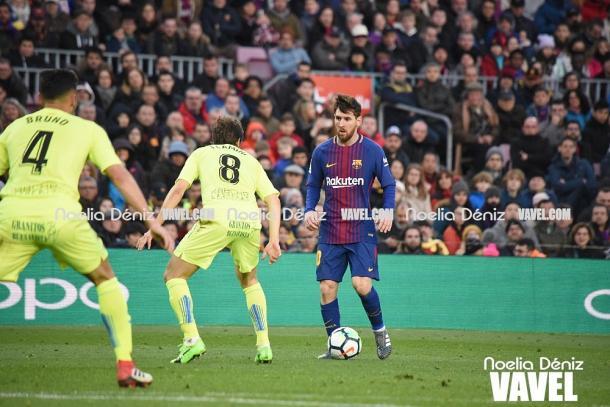 Leo Messi en acción entre el último enfrentamiento entre ambos conjuntos / Foto: Noelia Déniz (VAVEL.com)