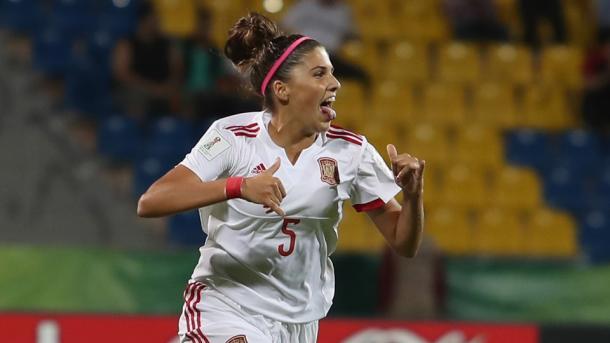 Natalia Ramos celebra el gol ante Alemania | Foto: FIFA