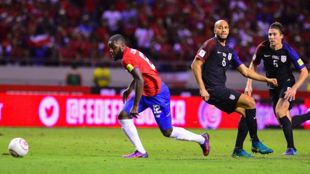 Joel Campbell sets off to score Costa Rica's fourth of the night | Source: Ezequiel Becerra/AFP