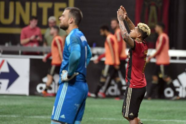 Josef Martinez celebrates his goal versus Vancouver Whitecaps. | John David Mercer - USA TODAY Sports