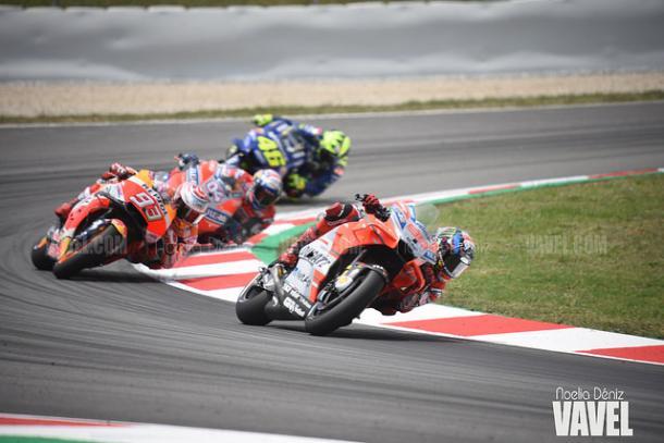 Lorenzo, Márquez, Dovizioso y Rossi durante el pasado Gran Premio de Catalunya. | Foto: Noelia Déniz VAVEL