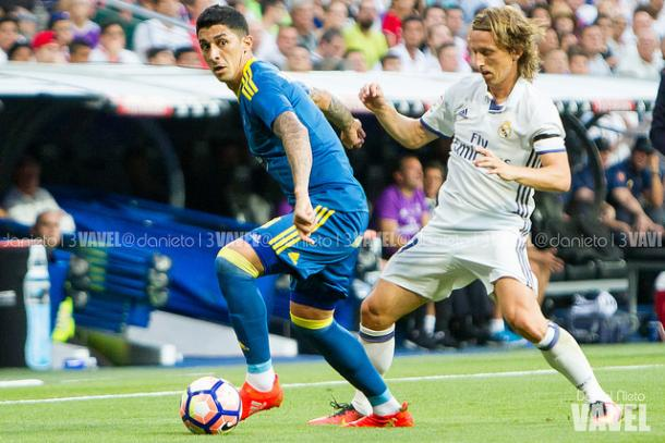 Pablo Hernández junto a Modric en el Bernabéu I Foto: Daniel Nieto