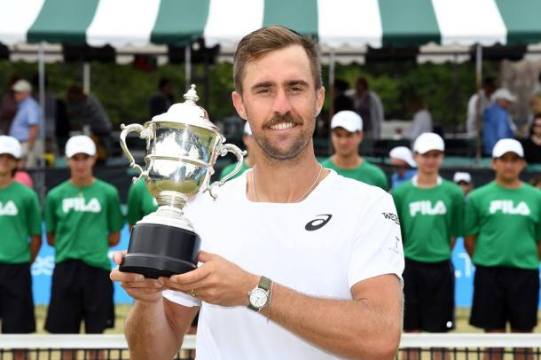 Steve Johnson claimed yet another title on home soil this week, this time on grass in Newport. Photo: Hall of Fame Open
