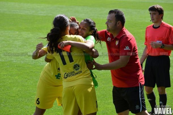 Juan Carlos Antúnez celebrando el gol de su equipo en Zubieta. Foto: Giovanni Batista (VAVEL)