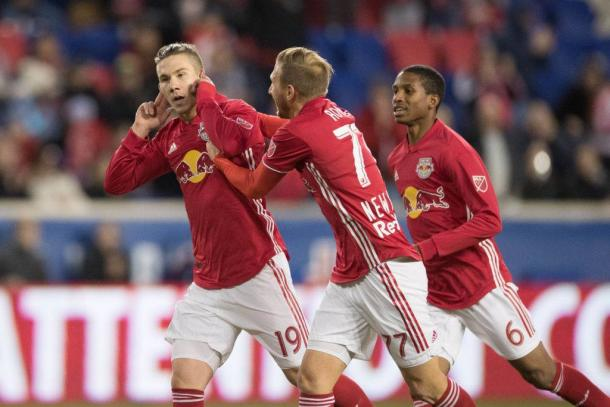 New York Red Bulls celebrate a goal against Minnesota United FC | Photo: Brad Penner (USA TODAY Sports)