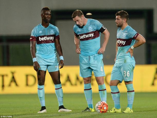 Above: Modibo Maiga, Kevin Nolan and Elliot Lee during West Ham's 2-1 defeat to Astra Giurgiu | Photo: Reuters