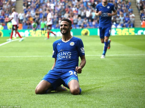 Mahrez scored two when Leicester beat Sunderland 4-2 at the King Power on the opening day. (Photo: Mark Leech)