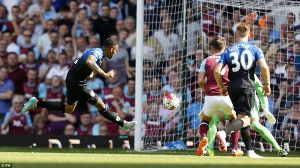 Callum Wilson scoring one of his three goals in West Ham's 4-3 defeat to AFC Bournemouth last August | Photo: PA