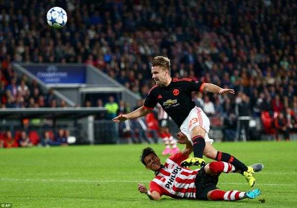 Moreno tackles Shaw during their UEFA Champions League match (Photo: AP)